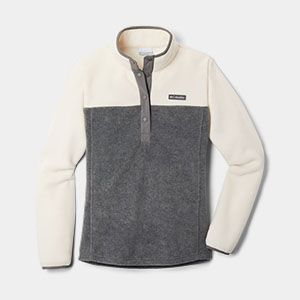 A white and grey fleece pullover