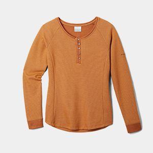 An orange long sleeve shirt.