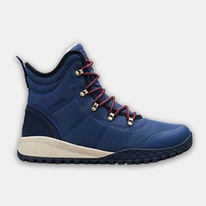 A blue fall-weather boot.