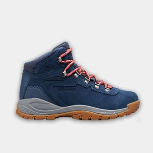 A blue, gray, and orange hiking boot.