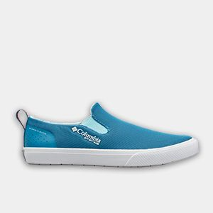 A blue womens boat shoe.