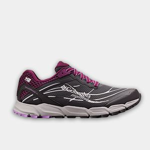 A gray and purple trail-running shoe.