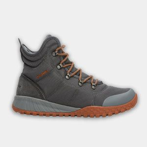 A grey fall-weather boot.