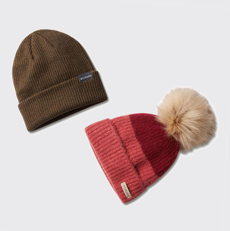 laydown of two beanies