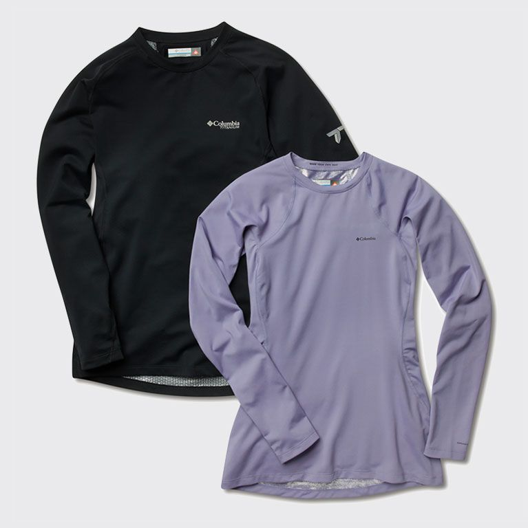 A mens and womens baselayer tops