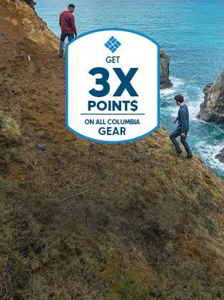 Two hikers looking out at the ocean. Get 3X points on all Columbia gear.