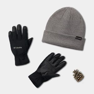 A grey hat and a pair of black gloves.