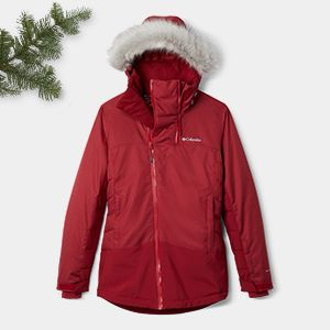 A red winter jacket