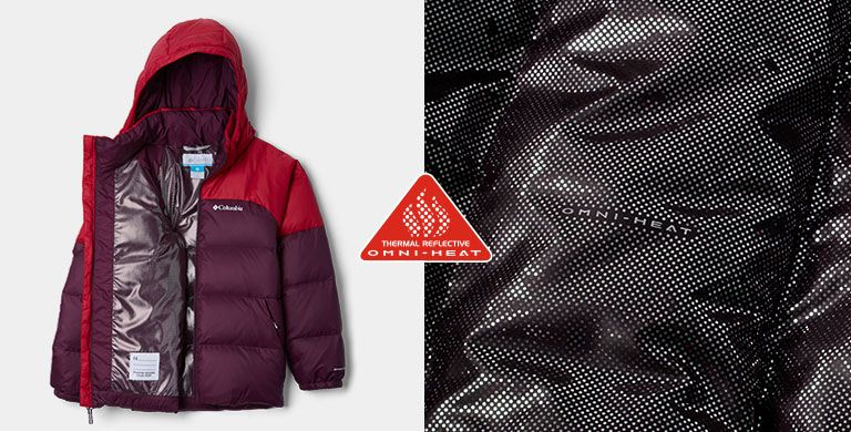 A red and purple puffy coat and a close-up of the Omni-Heat lining. Thermal Reflective Omni-Heat logo.