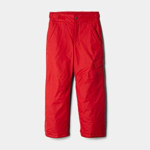 Red snow pants.