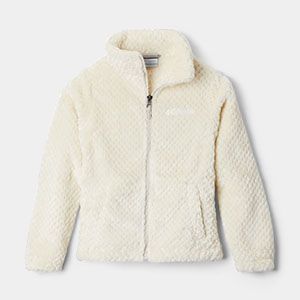 A white full-zip Sherpa fleece jacket.