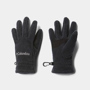 A pair of black fleece gloves.