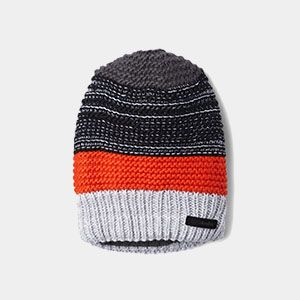 A gray, white, and orange striped knit beanie.