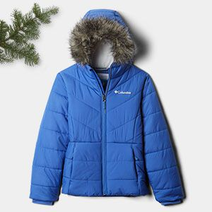 A blue insulated jacket with a faux-fur-lined hood.
