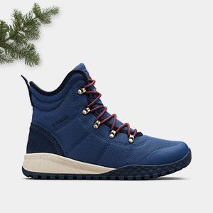 A mens blue hiking boot.