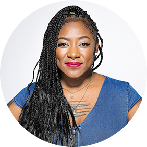 A portrait image of Alicia Garza