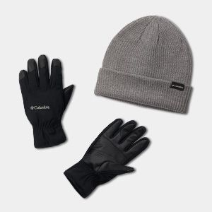 A gray beanie and a pair of black gloves.