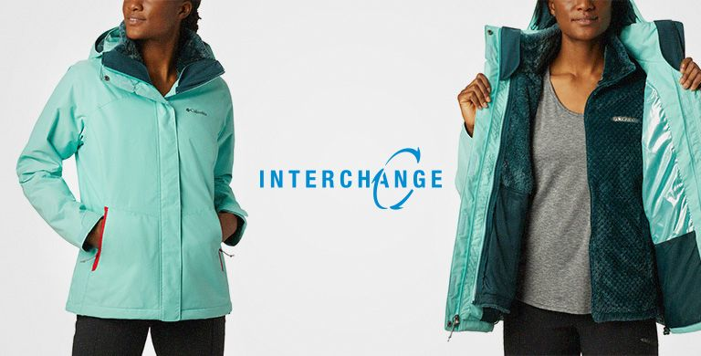 Animation of a woman wearing an Interchange jacket.