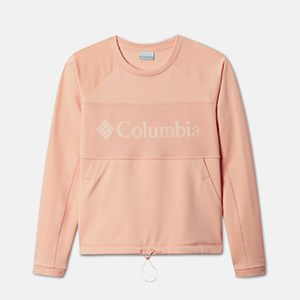 a pink sweatshirt with a Columbia logo