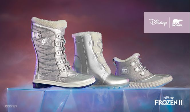 Three Frozen 2 boots on a purple background
