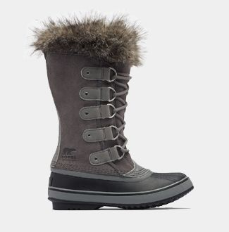 A Joan of Arctic boot with a white background