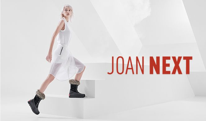 JOAN NEXT, model wearing Joan NEXT boots with futuristic background