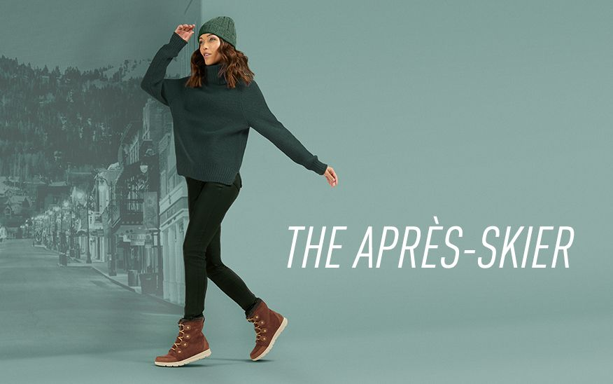 THE APRÈS-SKIER, woman wearing SOREL boots on green background