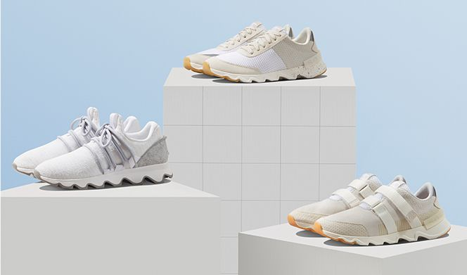 Three spring Kinetic Lite Sneaks on white platforms