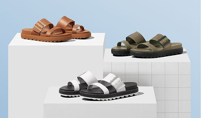 Three spring Roaming sandals on platforms