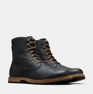 A pair of SOREL men's lace-up boots now a white background