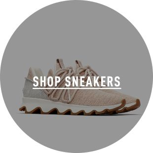SHOP SNEAKERS, a pair of sneakers on a blue background