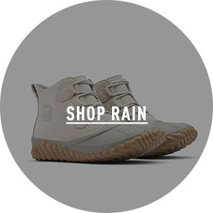 SHOP RAIN, a pair of rain boots on a blue background