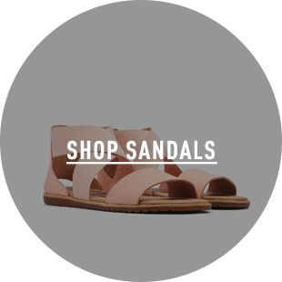 SHOP SANDALS, a pair of sandals on a blue background
