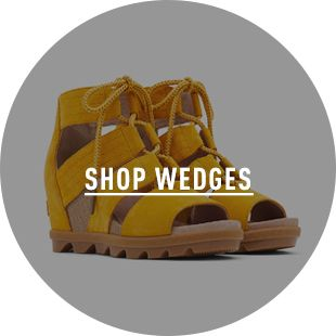 SHOP WEDGES, a pair of wedges on a blue background