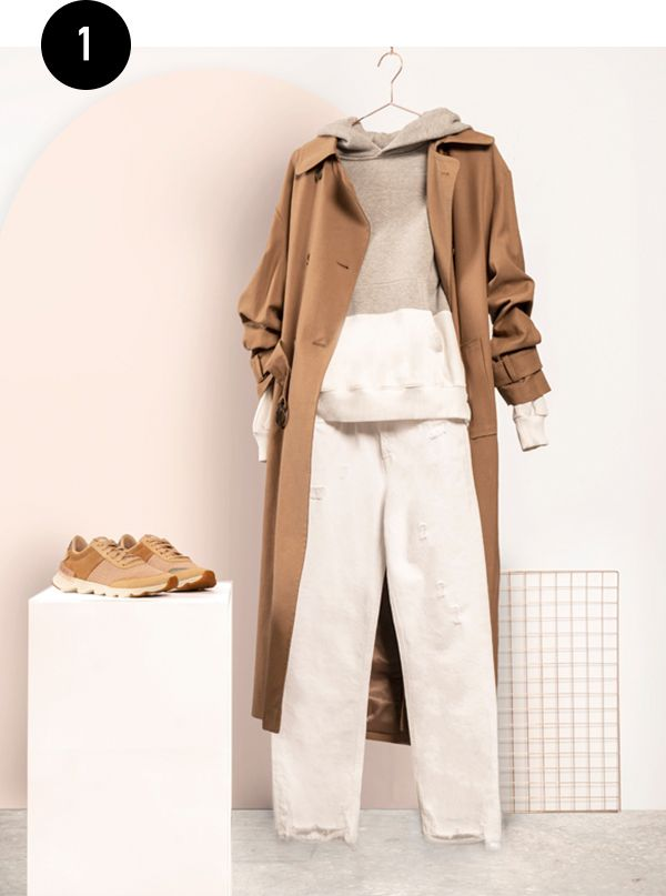 A layered outfit styled by Kate with SOREL Kinetic Lite Lace sneakers