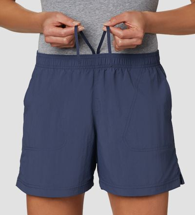 A woman in Columbia shorts.