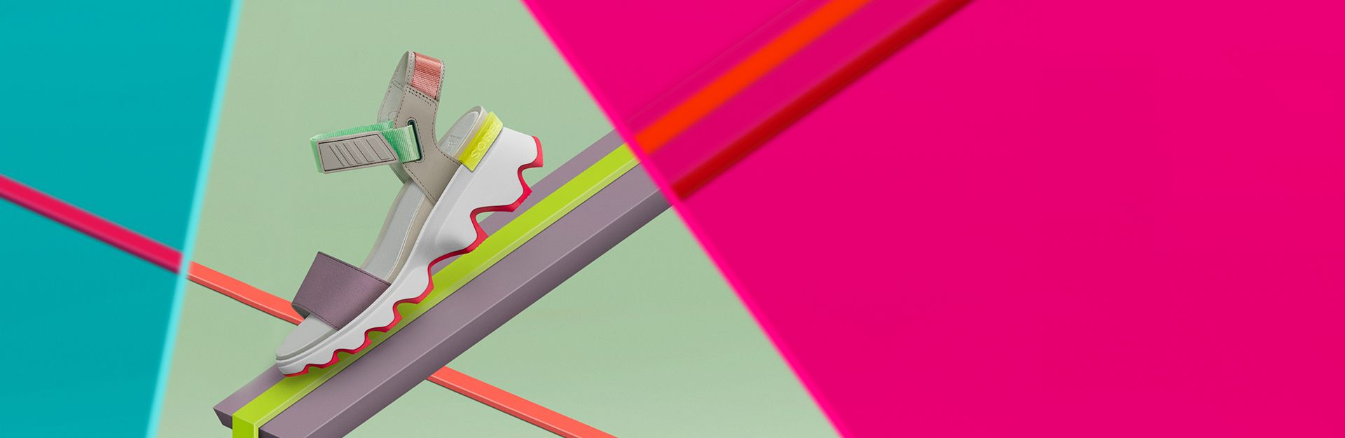 A Vibe Kinetic Sandal on colorful  neon background