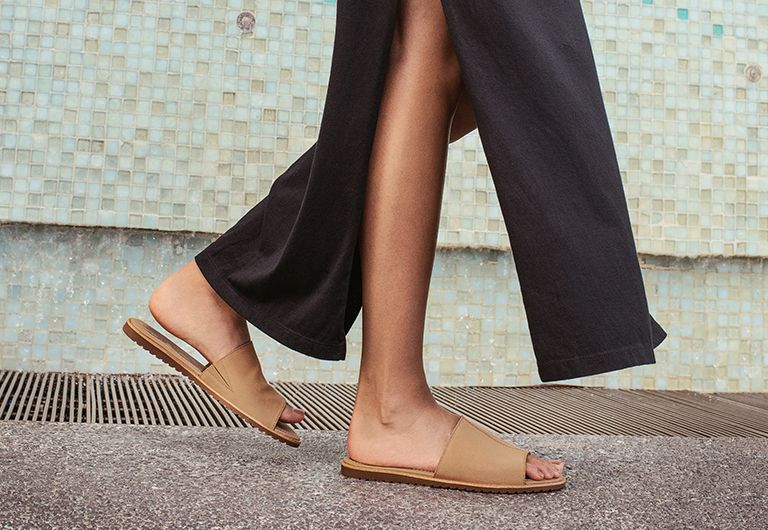 Close up of woman wearing Ella Block Slides in a city