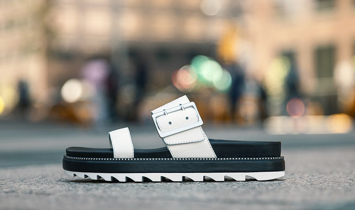 Close up of a Roaming Buckle slide in an urban setting