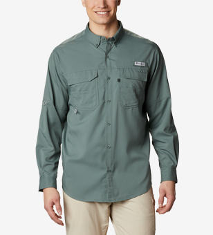 A man wearing a PFG long-sleeve shirt.