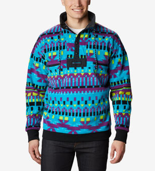 Fleece with a colorful plaid pattern.