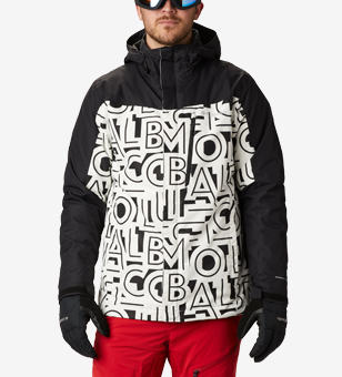 Ski jacket with a graphic print.