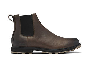 A men's Chelsea boot on a white background