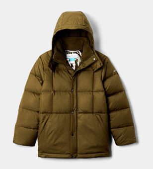 An orange Boys' Forest Park Down Hooded Puffy Jacket