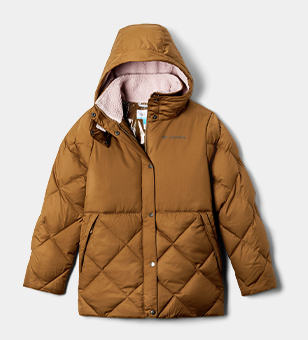 A blue Girls' Forest Park Down Hooded Puffy Jacket