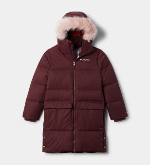 A burgundy puffer parka with faux fur lined hood.