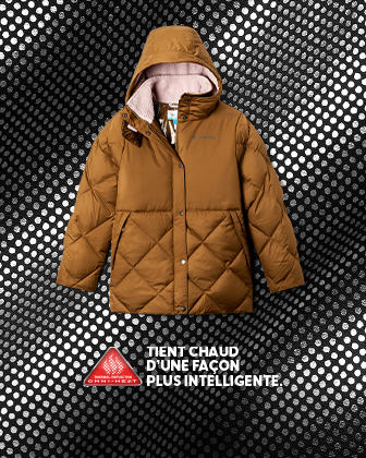 A hooded puffy parka. WARM SMARTER.
