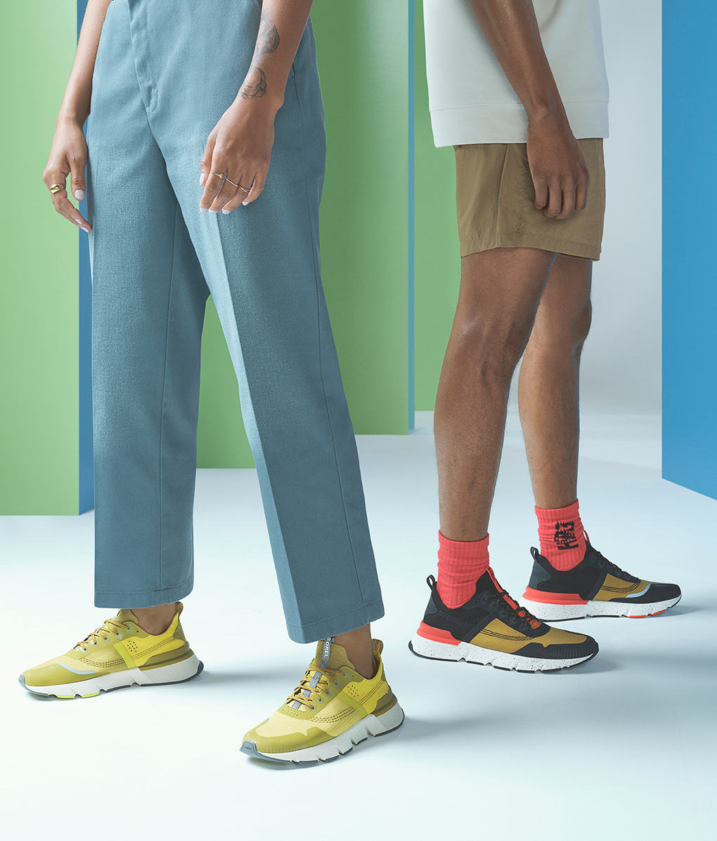 Thigh down image of people wearing new Kinetic Rush sneakers