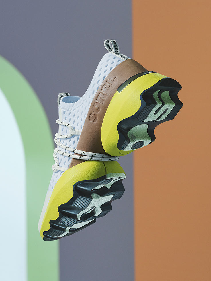 A close-up image of the sole of a Kinetic Impact sneaker