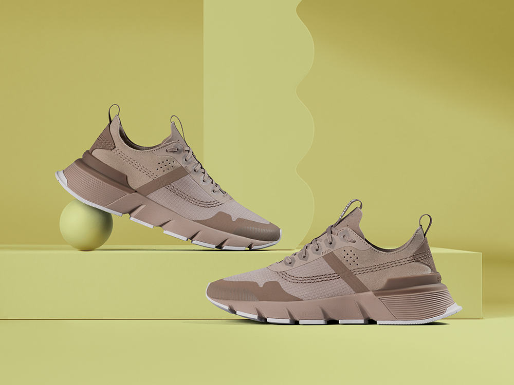 Kinetic Rush Ripstop sneakers on a yellow background